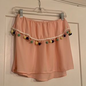Blush strapless top with Pom poms